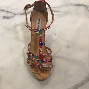 afb0e7024af83 Steve Madden Shoes - Steve Madden Faara jeweled wedges sz 7